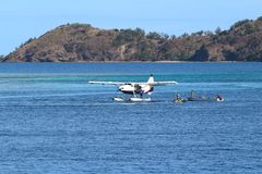 A seaplane in an island of Fiji royalty free stock image