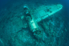 Seaplane Wreck Underwater Royalty Free Stock Images