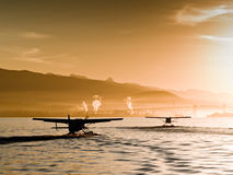Seaplanes. Make an early departure from Vancouver Harbour Stock Images