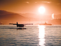 Seaplanes. And Ferry on Vancouver Harbour Royalty Free Stock Images