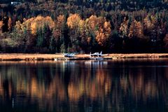 Seaplanes and Fall colors Royalty Free Stock Images