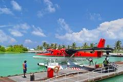 Seaplanes in Maldives seaport Stock Photos