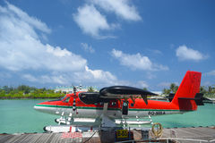 Seaplanes in Maldives seaport Stock Photography