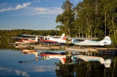 Seaplanes of Northern Maine. Seaplanes on Moosehead Lake, Maine, used to provide scenic flights to tourists and to fly hunters and fishermen to remote lakes in Royalty Free Stock Image