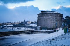 Seapoint Martello Tower. Dun Laoghaire. county Dublin. Ireland. Seapoint Martello Tower covered with snow during storm Emma, Dun Laoghaire. county Dublin Royalty Free Stock Images