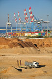 Seaport of Ashdod. Israel. A view on port of Ashdod (Israel) with construction works at the foreground Stock Photography