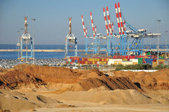 Seaport of Ashdod. Israel. A view on port of Ashdod (Israel) with construction works at the foreground Stock Images