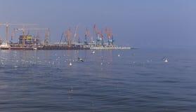 Seaport in Baku royalty free stock photos
