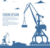 Seaport banner with port crane silhouette. Seaport banner with crane silhouette. Maritime container transportation, commercial transportation logistics Royalty Free Stock Images