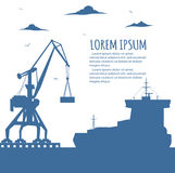 Seaport banner with port crane silhouette. Seaport banner with crane silhouette. Maritime container transportation, commercial transportation logistics Royalty Free Stock Photography