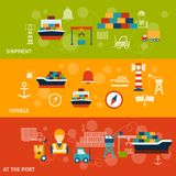 Seaport Banner Set Stock Images
