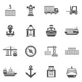 Seaport Black Icons  Set. Seaport black icons set  with containers tankers and port facilities  vector illustration Stock Photography