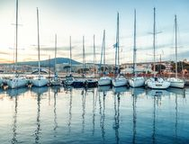 Seaport with boats and yachts on the Cote d`Azur in France at su stock image