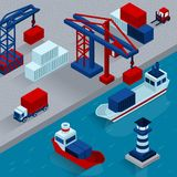 Seaport Cargo Loading  Isometric Concept. With working port facilities vector illustration Stock Photo