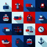Seaport Color Flat Shadows  Icons  Set. Seaport color flat shadows  icons set with cargo ships and port facilities  vector illustration Royalty Free Stock Images