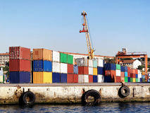 Seaport with container stacks. Container stacks ready on commercial seaport Royalty Free Stock Photography