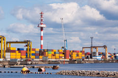 Seaport with the containers which are on it Royalty Free Stock Photography