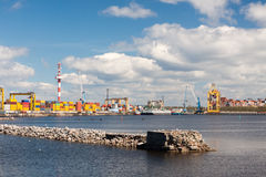 Seaport with the containers which are on it Royalty Free Stock Photo