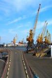 Seaport cranes Stock Images