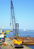 Seaport with cranes Stock Images