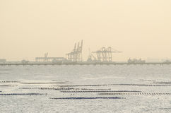 Seaport cranes, Sriracha habor, Thailand before sunset Royalty Free Stock Images