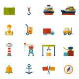 Seaport Flat Icon. Set with container tanker vessel loader isolated vector illustration Royalty Free Stock Photo
