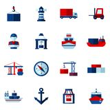 Seaport Flat Icons  Set. Seaport flat icons set with container tanker vessel loader isolated  illustration Royalty Free Stock Photography