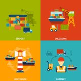 Seaport Flat Set. Seaport design concept set with unloading lighthouse shipment flat icons isolated vector illustration Stock Photos