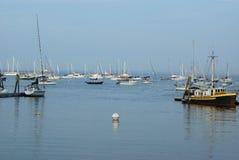 Seaport harbor sail boats buoy Royalty Free Stock Photo