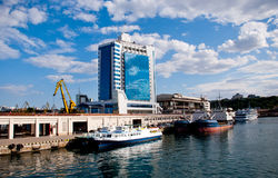 Seaport and Hotel in Odessa, Ukraine Stock Photography