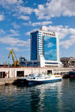 Seaport and Hotel in Odessa, Ukraine Royalty Free Stock Image