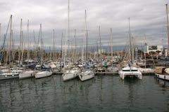 Seaport i Barcelona Arkivfoto
