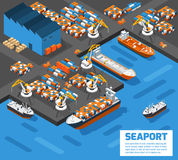 Seaport Isometric Aerial View Poster. Aerial view of harbor waterfront and maritime terminal with container ship loading isometric poster abstract vector royalty free illustration