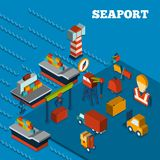 Seaport Isometric Set. Seaport freight transportation concept with isometric icons set vector illustration Royalty Free Stock Images