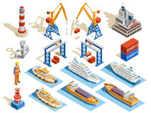 Seaport Isometric Set. Of industrial cruise ships marine tugs worker anchor cranes containers lighthouse isolated vector illustration Royalty Free Stock Photography