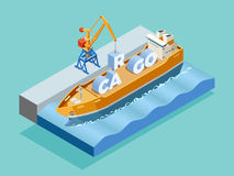 Seaport Isometric Template. With crane loading inscription cargo on ship  vector illustration Royalty Free Stock Photo