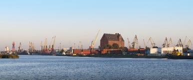 Seaport panorama. Panorama of trading seaport of Kaliningrad Royalty Free Stock Image