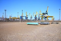 Seaport in the Mariupol city stock photography
