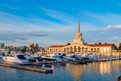 Seaport  with mooring boats at sunset in Sochi, Russia. Seaport with mooring boats at sunset in Sochi, Russia Royalty Free Stock Image