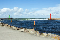 Seaport in Mrzeżyno in Poland Stock Photos