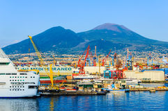 The seaport of Naples with mount Vesuvius on background, Italy Royalty Free Stock Images