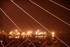Seaport at night Stock Photos
