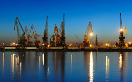 Seaport at the night Royalty Free Stock Photography