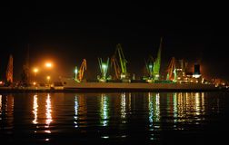 Seaport at the night Royalty Free Stock Photo