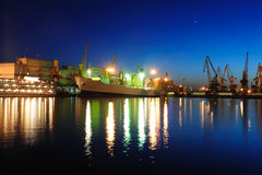 Seaport at the night Stock Photography
