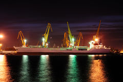 Seaport at the night. Stock Photos