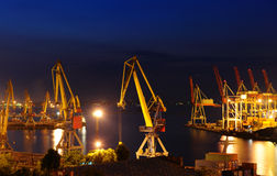 Seaport at the night Stock Images