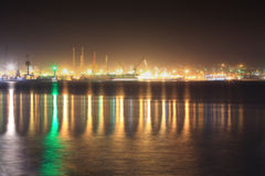 Seaport at night Stock Images