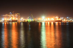 Seaport at night. Large  seaport at the night.  Novorossiysk, Russia Stock Image
