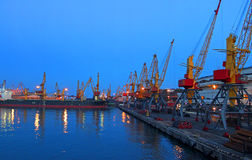 Seaport at night Stock Photo